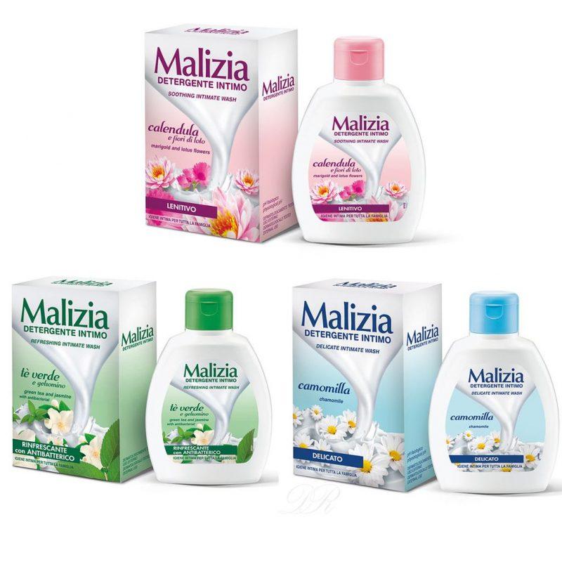 malizia intimate wash liquid soap set marigold green tea chamomille 3x 200ml
